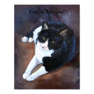 Black and White Cat Portrait Card