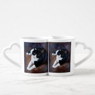 Black and White Cat Portrait Coffee Mug Set