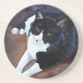 Black and White Cat Portrait Drink Coaster