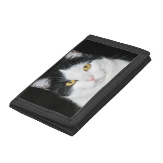 Black and White Cat Portrait Trifold Wallet