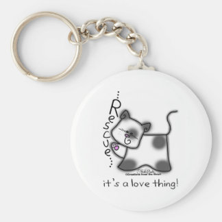 Black and white cat RESCUE...it's a love thing! Basic Round Button Keychain