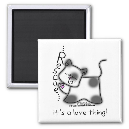 Black and white cat RESCUE...it's a love thing! Magnet