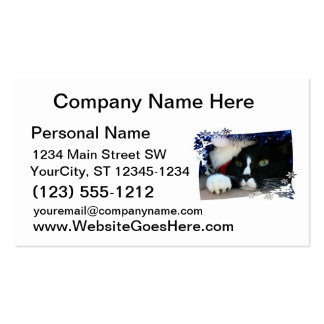 Black and white cat , santa hat, tinsel and a paw business card templates