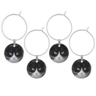 Black and white cat set of wine charms