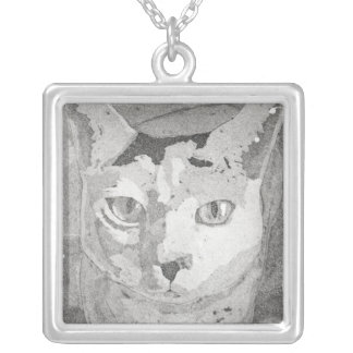 Black and White Cat Square Pendant Necklace