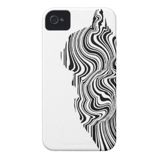 Black and White Cat Swirl Lines Feline monochrome iPhone 4 Cover
