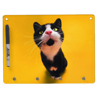 Black and white cat-tuxedo cat-pet kitten-pet cat dry erase board with keychain holder