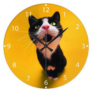 Black and white cat-tuxedo cat-pet kitten-pet cat large clock