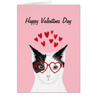 Black and White Cat Valentines Love Card