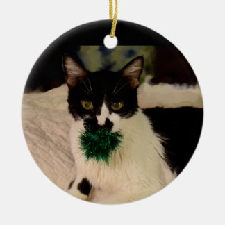 Black and White Cat with ball ornament