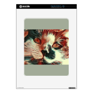 Black And White Cat With Digital Painting Effect Skin For iPad