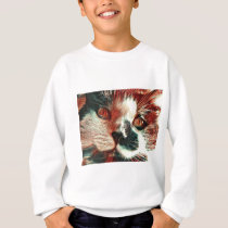 Black And White Cat With Digital Painting Effect Sweatshirt