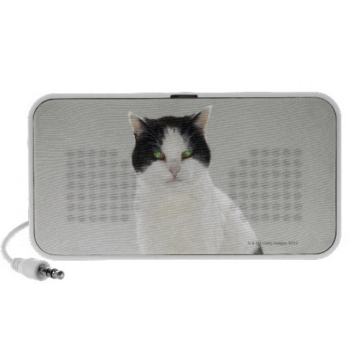 Black and white cat with glowing green eyes mini speaker