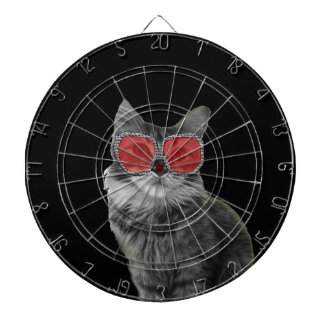 Black and white cat with red glasses dartboard with darts