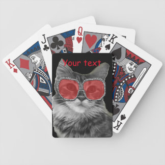 Black and white cat with red glasses bicycle playing cards