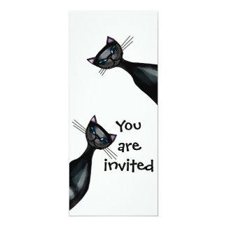Black and white cats 4x9.25 paper invitation card