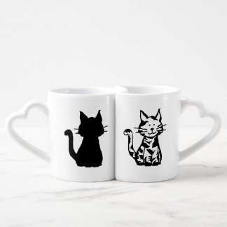 Black and White Cats Pattern Coffee Mug Set