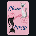"Black and White Cats Pink Clean Dirty Dishwasher Magnet<br><div class=""desc"">Cute Black and White (Lilac Point) Siamese Cats Clean Dirty Dishwasher Magnet on a Pink Background.   Some graphics by ScrappinDoodles.com and artwork&#169;delightful-doodles.com. ~</div>"