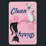 """Black and White Cats Pink Clean Dirty Dishwasher Magnet<br><div class=""""desc"""">Cute Black and White (Lilac Point) Siamese Cats Clean Dirty Dishwasher Magnet on a Pink Background.   Some graphics by ScrappinDoodles.com and artwork&#169;delightful-doodles.com. ~</div>"""