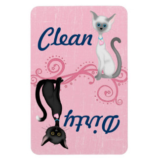 Black and White Cats Pink Clean Dirty Dishwasher Magnet