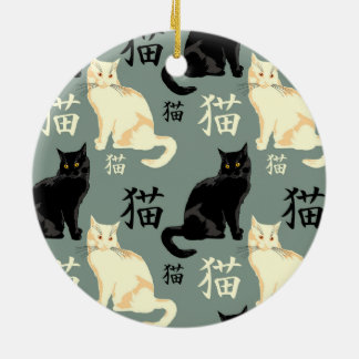 Black and white cats with hieroglyph ceramic ornament