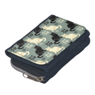 Black and white cats with japanese characters wallet