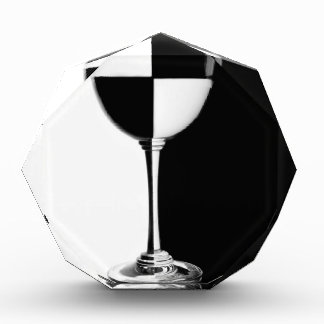 Black and white caused half full glass award