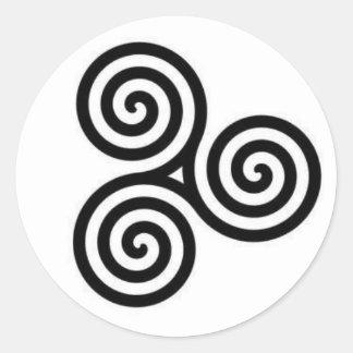 Black and White Celtic triple-circle sticker