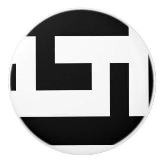 Black and White Ceramic Knob