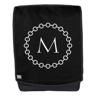 Black and White Chain Link Ring Circle Monogram Backpack