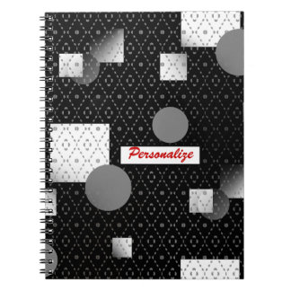 Black And White Chain Link With Name Spiral Notebook