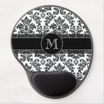 Black and White Chalkboard Damask Pattern Gel Mouse Pad