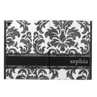 Black and White Chalkboard Damask Pattern iPad Air Covers
