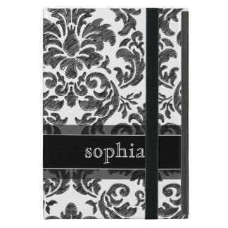 Black and White Chalkboard Damask Pattern Cover For iPad Mini