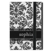 Black and White Chalkboard Damask Pattern iPad Mini Case