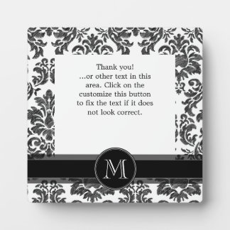 Black and White Chalkboard Damask Pattern Photo Plaques