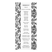 Black and White Chalkboard Damask Pattern Rack Card