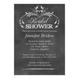 "Black And White Chalkboard Modern Bridal Shower 5"" X 7"" Invitation Card"