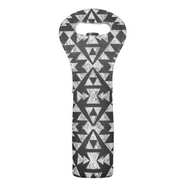 Aztec Themed Black and White Chalkboard Tribal Aztec Wine Tote