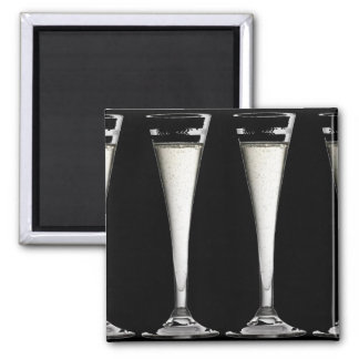 Black and White Champagne Glass Flutes Refrigerator Magnets