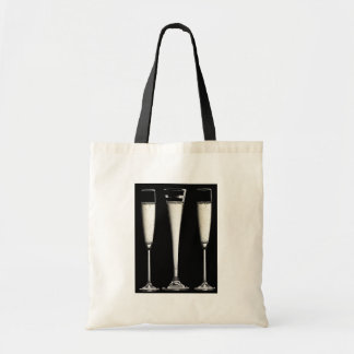 Black and White Champagne Glasses Budget Tote Bag