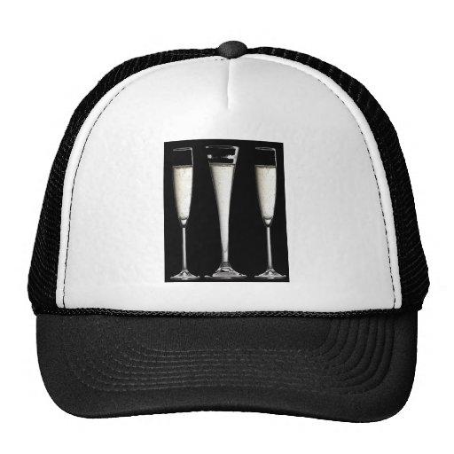 Black and White Champagne Glasses Hats