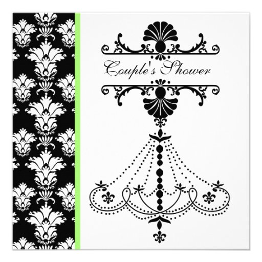 Black and White Chandelier  Couple's Shower Invite