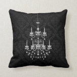 Black and White Chandelier Damask Accent Pillow