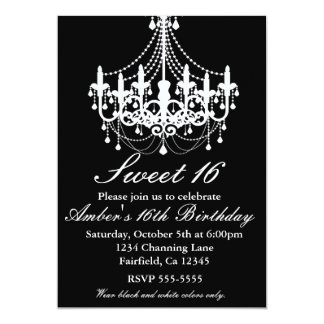 Black and White Chandelier Sweet 16 Party Invite