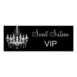 Black and White Chandelier Sweet 16 VIP Banner Poster