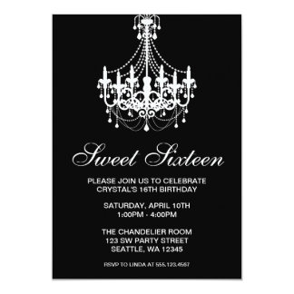 Black and White Chandelier Sweet Sixteen Birthday 5x7 Paper Invitation Card