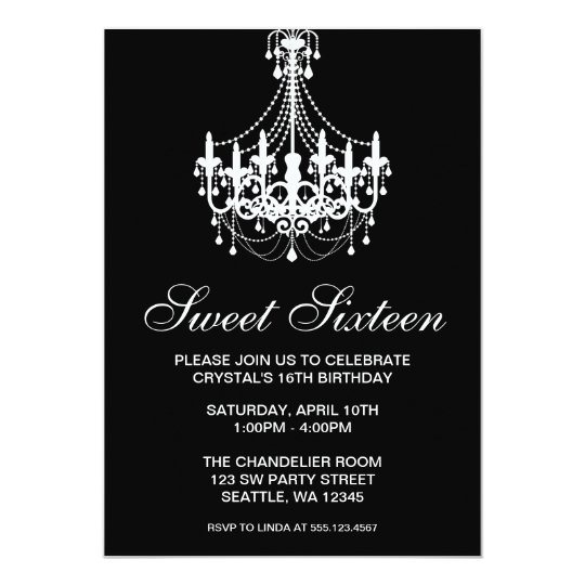 Black and White Chandelier Sweet Sixteen Birthday Card Zazzlecom