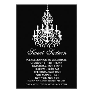 Black and White Chandelier Sweet Sixteen Birthday Personalized Invite
