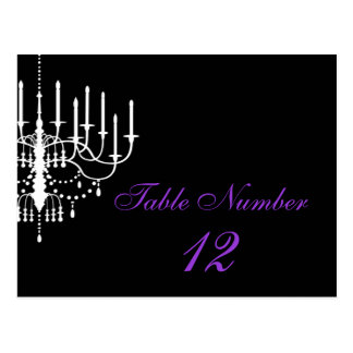 Black and White Chandelier Table Number Postcard
